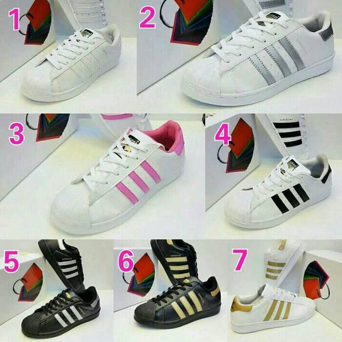 Jual Sepatu Adidas Superstar Grade Original Putih Pink Silver