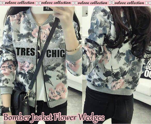 Gambar Bomber Jacket Flower Wedges
