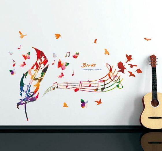 jual wall sticker /stiker dinding kamar/ dapur music feathers 50x70