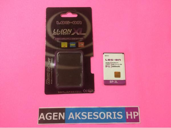 Batre Bp-3l Nokia Lumia N610 510 Asha 303 603 Baterai Log-on Dp 2600ma