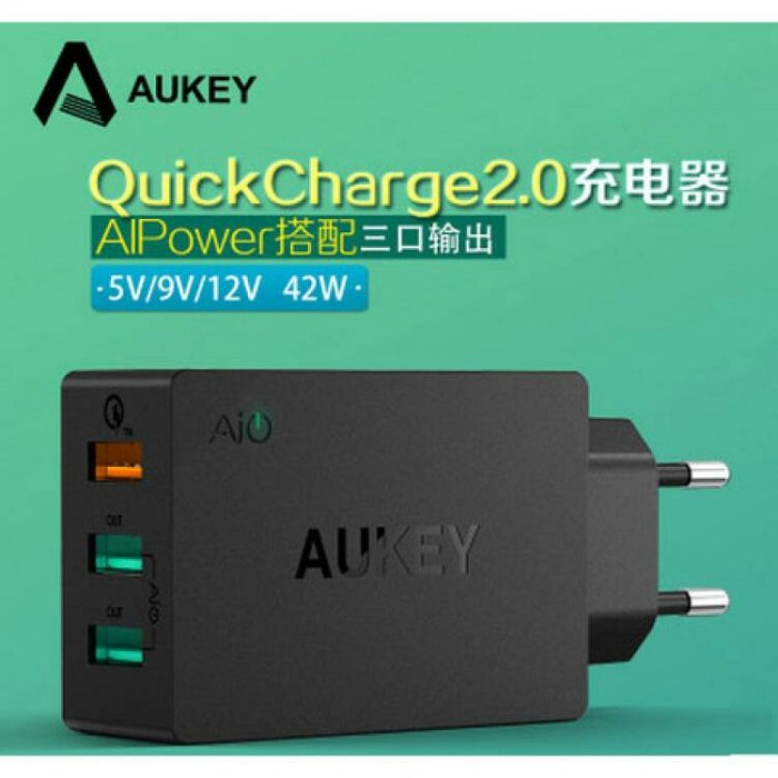 Aukey PA-T2 Charger USB 3 Port EU Plug 42w with QC 2.0 & AiPower