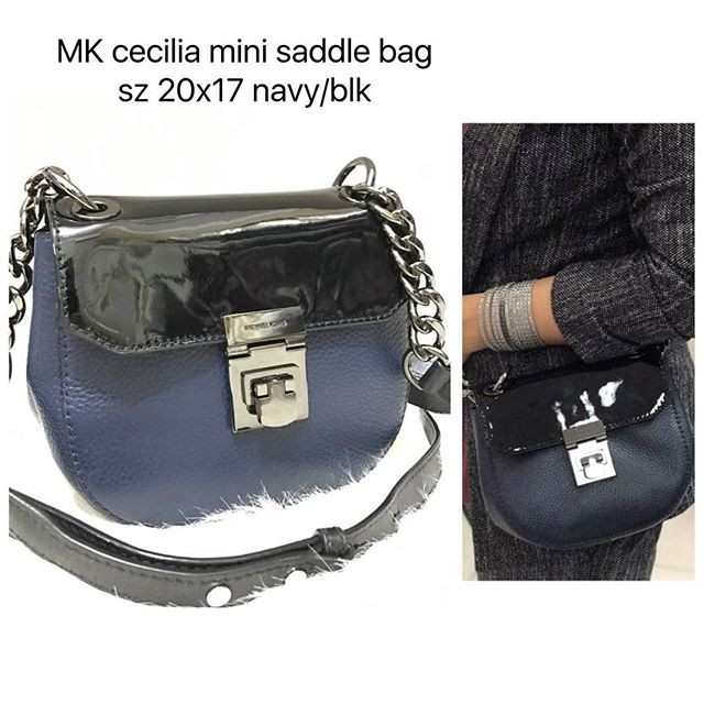 975f878b8620e6 low cost michael kors cecilia mini saddle bag navy black 5610a b3a7e