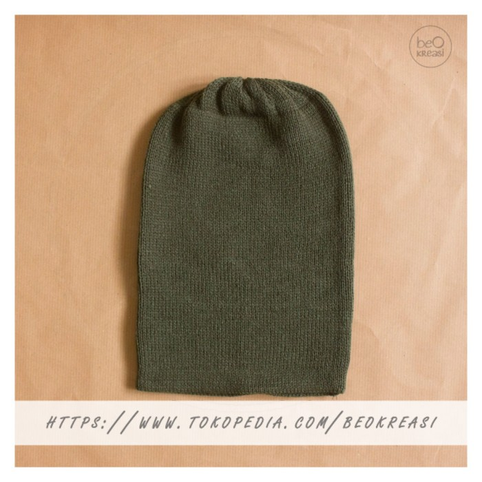 ... harga Topi kupluk dewasa hijau tua army green tentara beanie hat polos Tokopedia.com