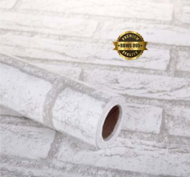 jual wallpaper dinding sticker batu bata putih - gosfajstiker