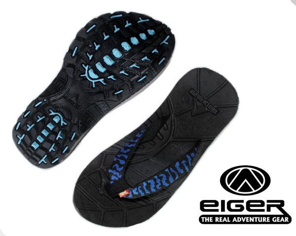 Sandal Eiger Light Speed Jepit Dark Black Motif Blue-sandal gunung