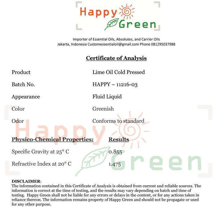 Happy Green Minyak Atsiri Jeruk Nipis (10 ml) - Lime Essential Oil