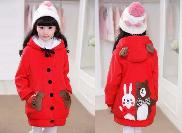 Foto Produk Jaket Hoodie Funny Rabbit & Bear Kid Red Baju Anak Perempuan Lucu dari Carol R. Duncan Store