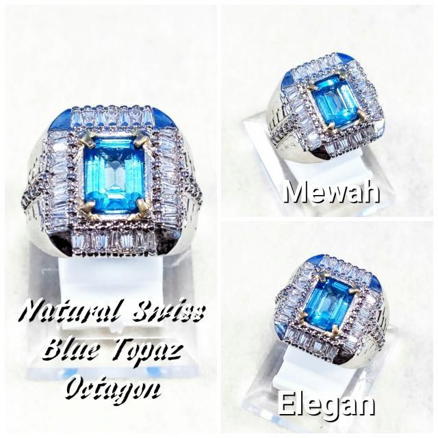 harga Cincin batu akik permata natural swiss blue topaz octagon ring alpaka Tokopedia.com