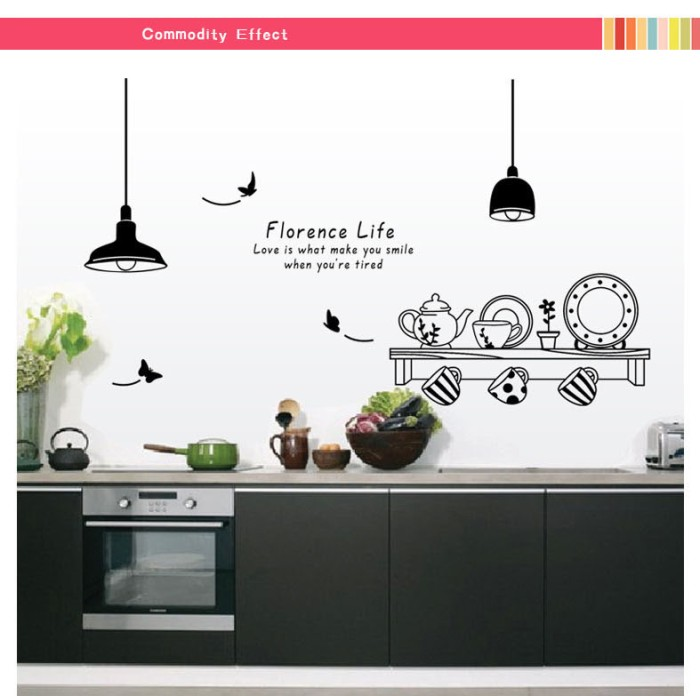 jual wall sticker transparan 60x90 wall stiker kitchen florence life