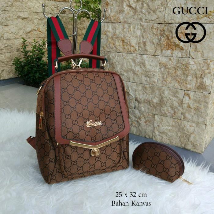 97234f71325 Jual Tas Ransel Wanita Branded Gucci Kait Set Dompet Resleting Warna ...