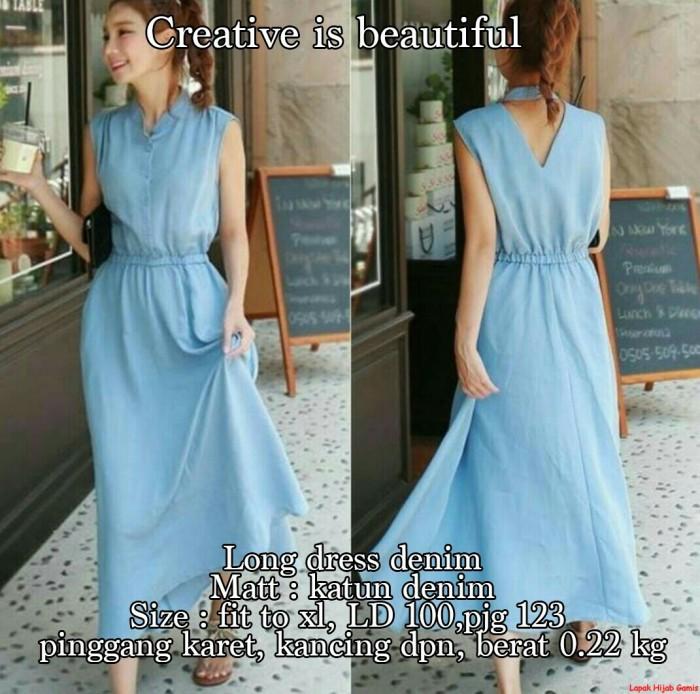 Jual Long Dress Denim Model Dress Pesta Wanita Terbaru Good Quality