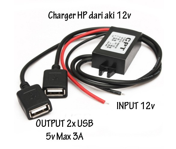 harga Charger hp smartphone input 12v aki battere accu output 5v 3a charge Tokopedia.com