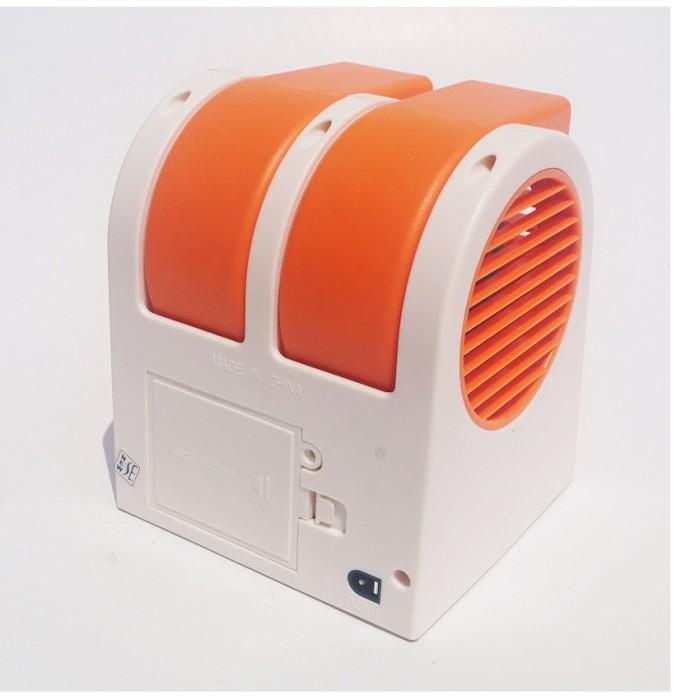 Mini Fan AC Portable Double Blower Orange .