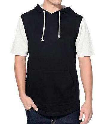Jaket Hoodie Lengan Pendek Short Sleeve Hoodie Raglan Black White