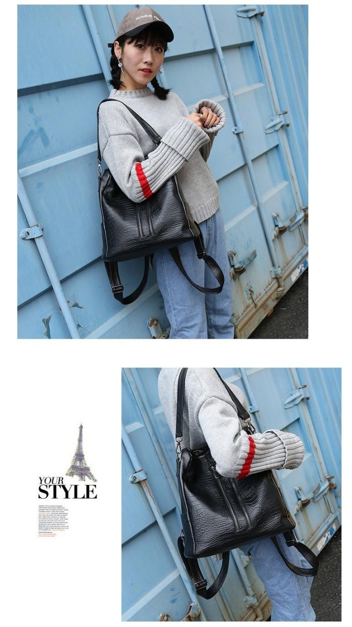 Jual T0586 Tas Multifungsi Kempit Punggung Kulit Ransel Hitam Impor Import Backpack Wanita 335 Casual Trendy Keren