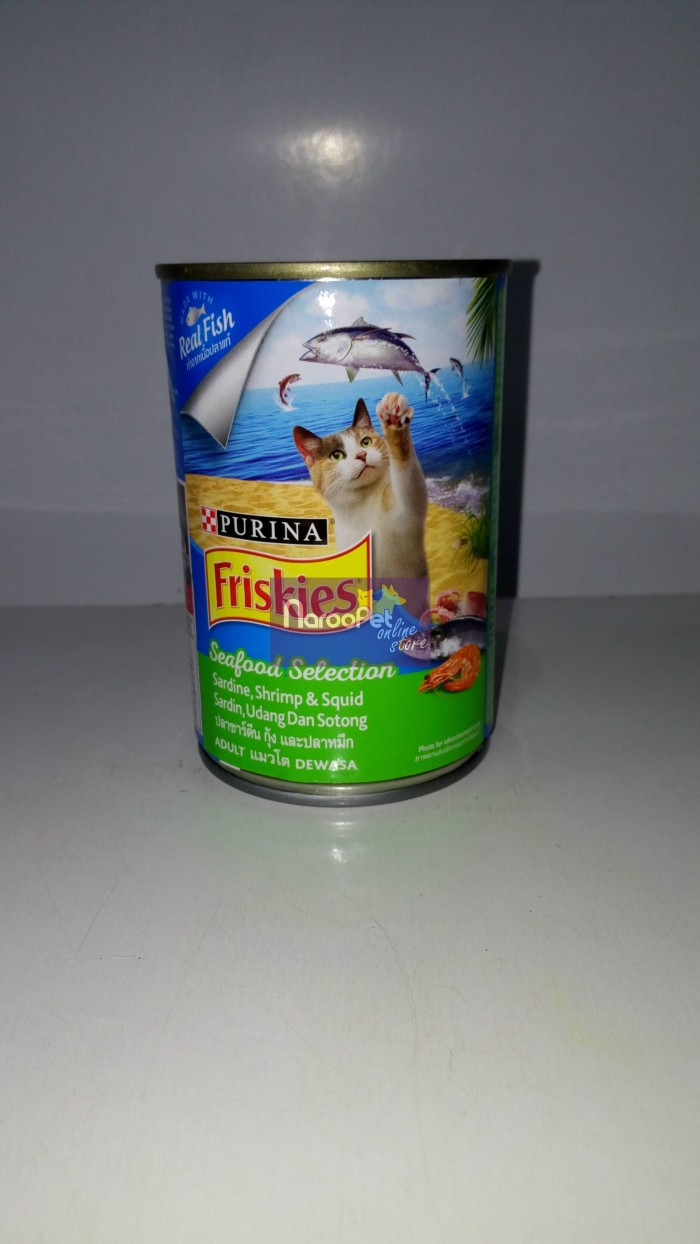 Friskies Can Seafood Selection Sardine Squid Shrimp Makanan Kucing Frsk Wet Sardinesquidshrimp 400gr X3pc Cat Food Adult 400g