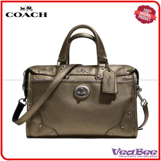 Jual Tas Wanita Coach Original Rhyder 24 Satchel In Metallic Leather ... 5a610455f2