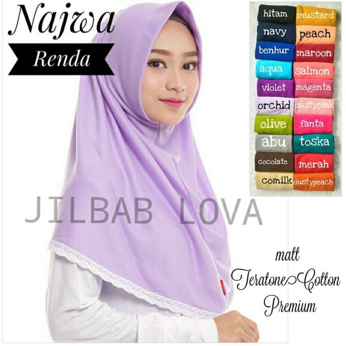 harga Jilbab kerudung hijab najwa instan renda Tokopedia.com