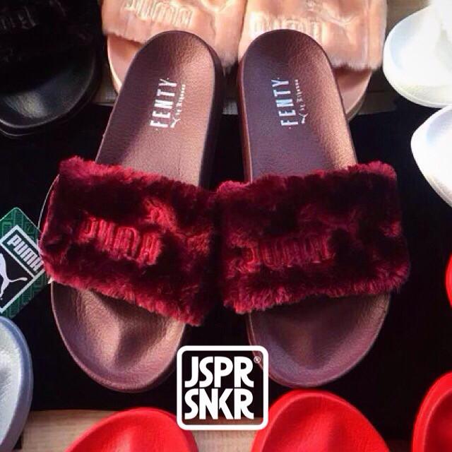 6fa167f6241d7b Jual Rihanna x Puma Fenty Fur Slide - Burgundy - Jasper Sneakerz ...