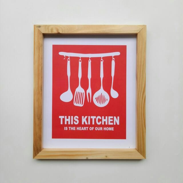 harga Wall decor / printed poster / poster kayu - red kitchen Tokopedia.com