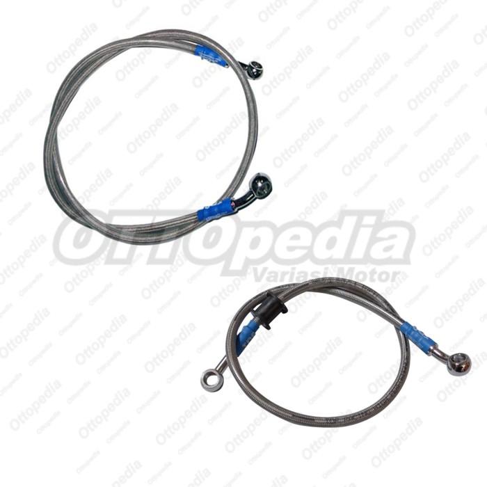 Selang - Slang - Kabel Rem TDR Depan + Belakang Vixion New Silver .