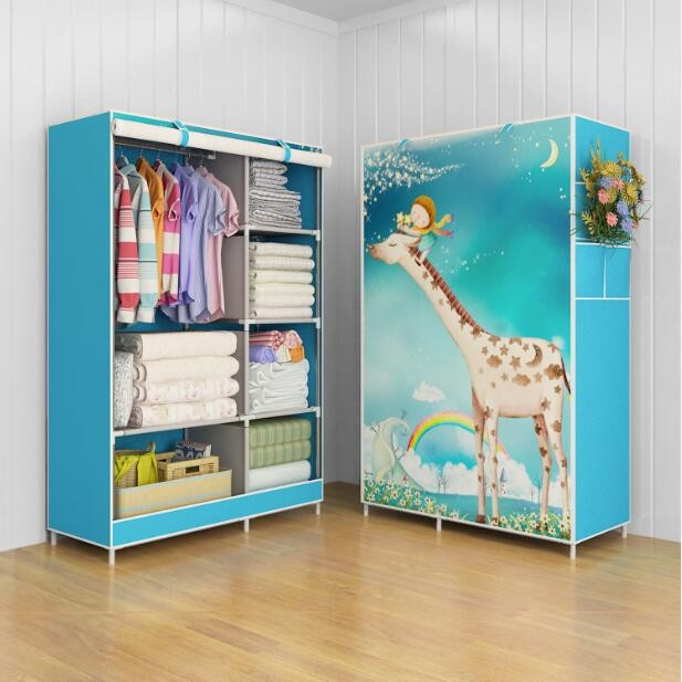 harga 03 giraffe multifunction wardrobe cloth rack with cover lemari pakaian Tokopedia.com