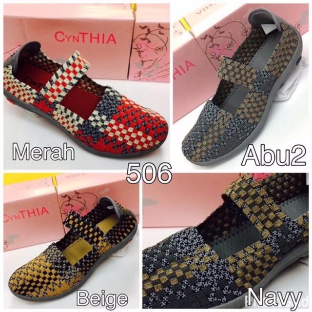 Sepatu Wanita Cynthia Original Flat 506 Rajut Anyaman