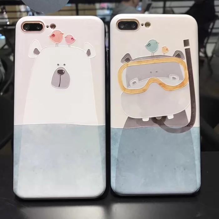 harga Casing iphone 7 plus (hard back & soft side) - hippo & polar bear Tokopedia.com