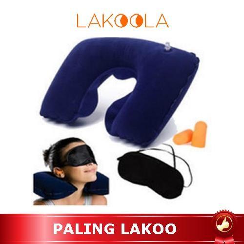 harga Termurah travel pillow set bantal leher tiup penutup mata & telinga Tokopedia.com