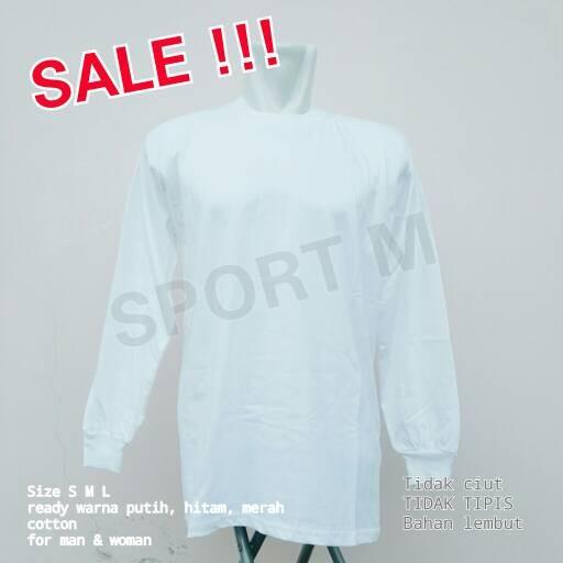 Jual Kaos Polos Putih Lengan Panjang Sportm Tokopedia Gambar