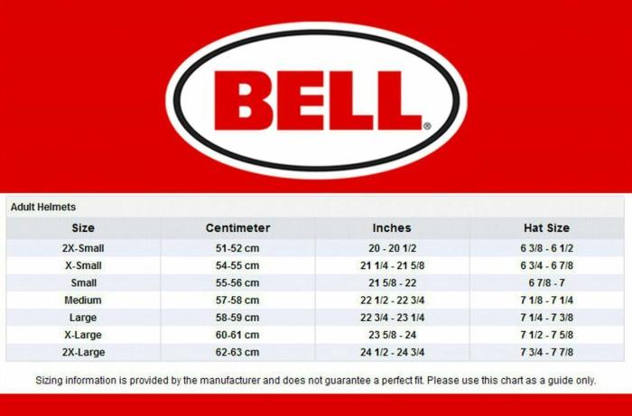 Size Chart Bell Helmet