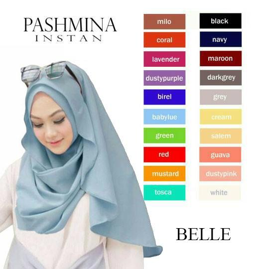 Jual Hijab Jilbab Kerudung Pashmina Belle Instan Bahan Diamond