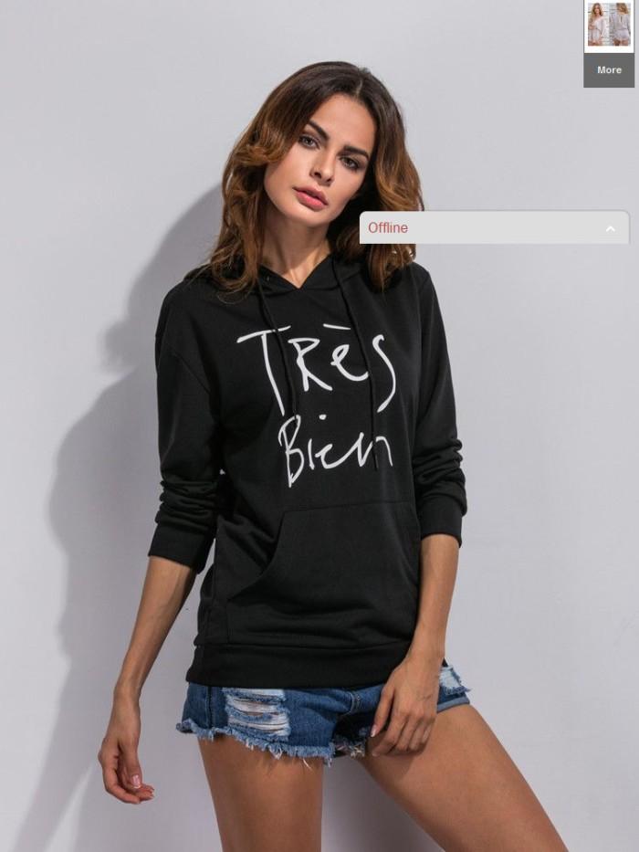 harga Baju atasan wanita import original leisure hood black (l) Tokopedia.com