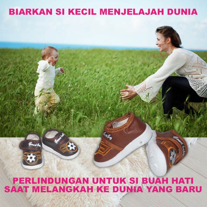 EELIC BAY-S11 COKLAT MUDA Sepatu Bayi Laki-Laki Motif Bola