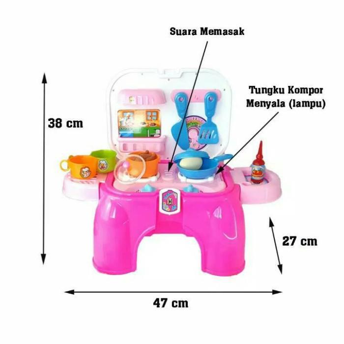 Jual Kitchen Set Chair Mainan Masakan Warna Biru Hm Shopee