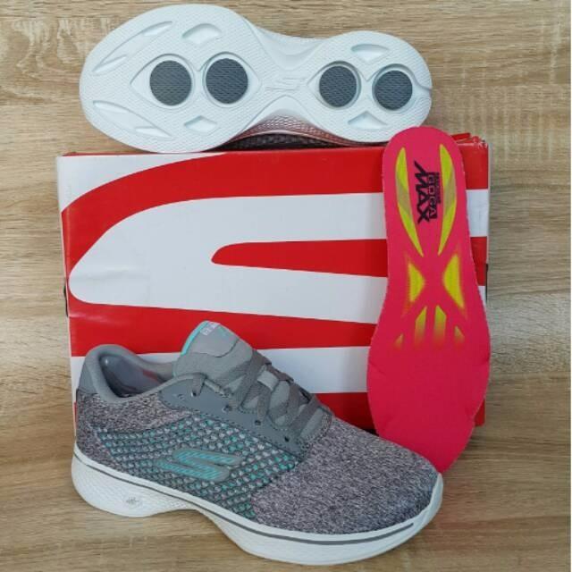 sepatu wanita skechers gowalk 4 lace up grey Tokopedia.com a6b3fa01f7