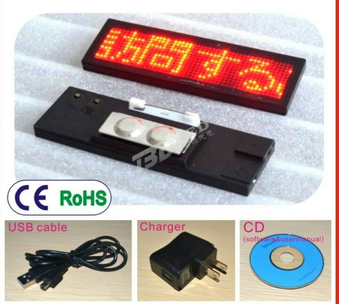 harga Name tag led / mini running text / mini led Tokopedia.com
