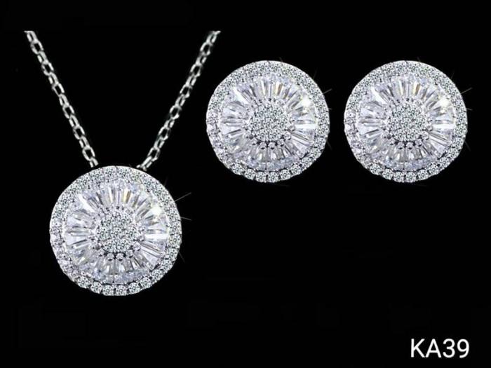 Set perhiasan kalung anting lapis emas putih diamond round ka39
