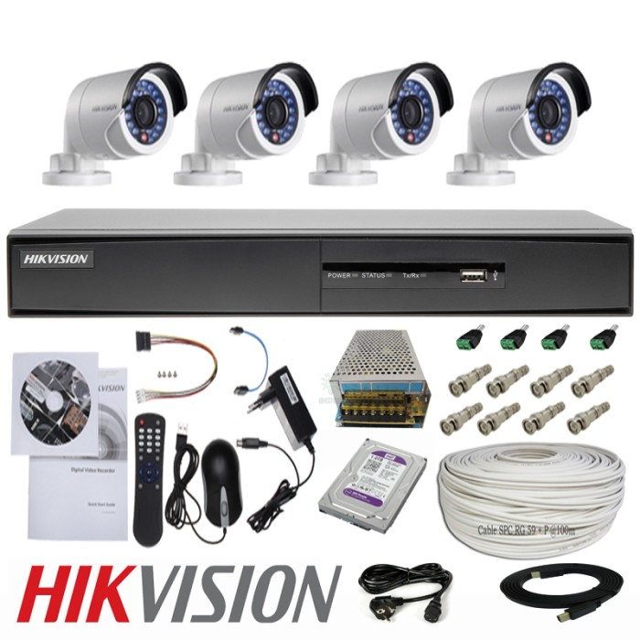 harga Paket komplit cctv ekonomis hikvision 4 camera turbo hd outdoor 2.0mp Tokopedia.com