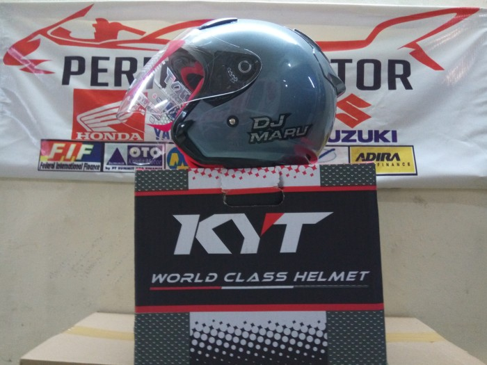 Helm kyt dj maru solid half face all grey met ...