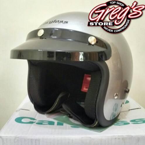 harga Helm retro cargloss silver metalik vespa bogo japstyle caferacer chips Tokopedia.com