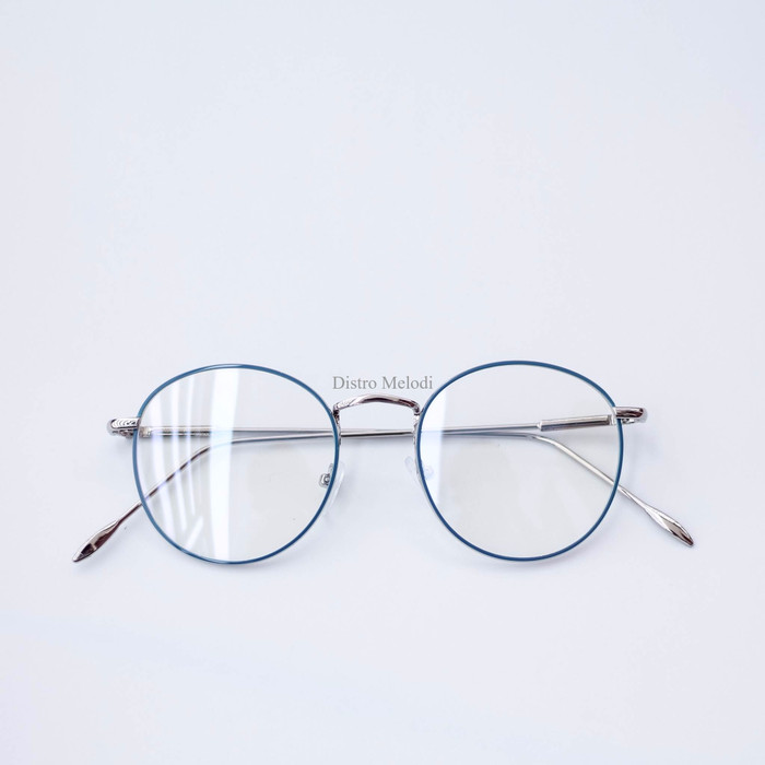 Jual Frame Kacamata Minus Besi Oval Pria Wanita Biru lis Silver ... 4aa3b36e91