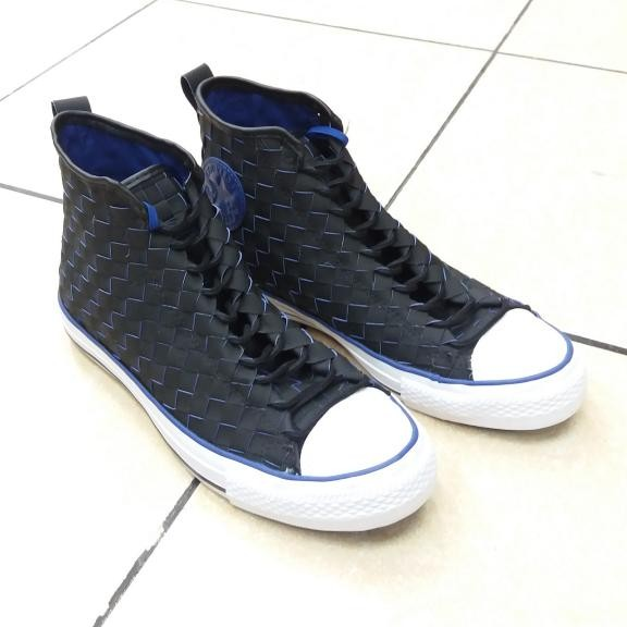 Jual Sepatu Converse CT Hi Woven Leather Black Blue 150445C Original ... 8ff2dc110d