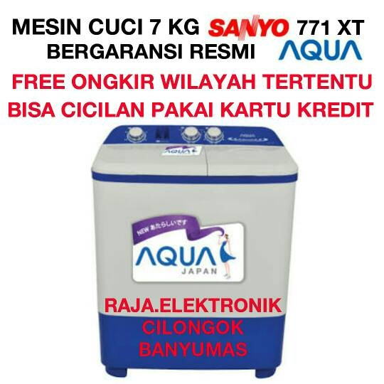 Mesin Cuci AQUA SANYO 7 Kg QW 771XT Laundry Pencuci 2 Tabung 7Kg