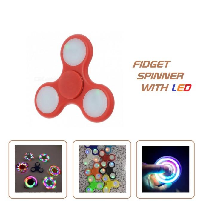Fidget spinner led lampu plastik murah/ mainan