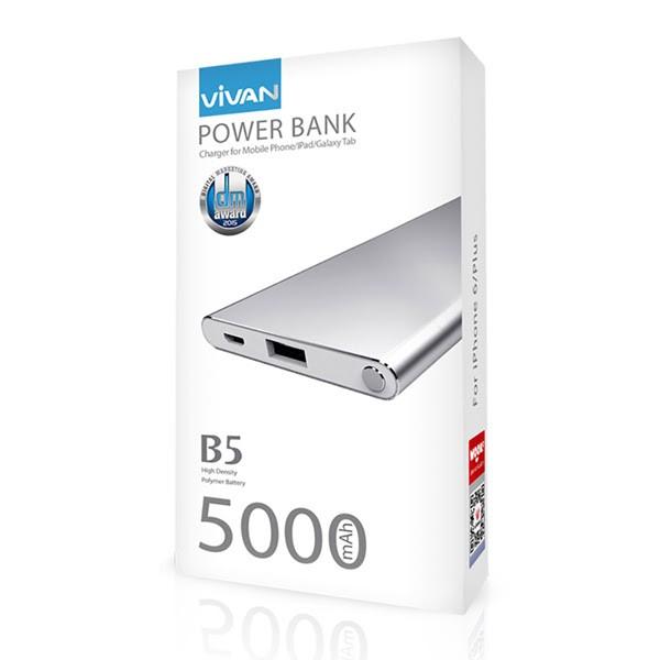 Vivan Power Bank Super Slim B5 Li-Ion Polymer - 5200 Mah