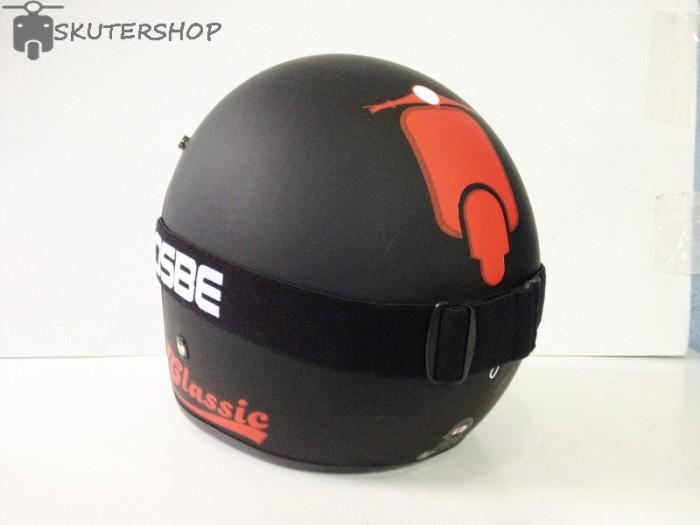 Helm Bogo JPN Jap Style Retro Klasik Black Doff Red Vespa + OSBE 1