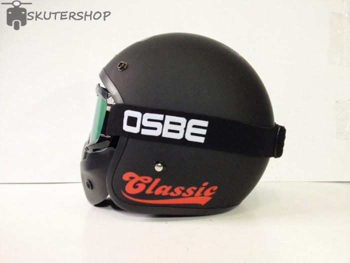 Helm Bogo JPN Jap Style Retro Klasik Black Doff Red Vespa + OSBE 3