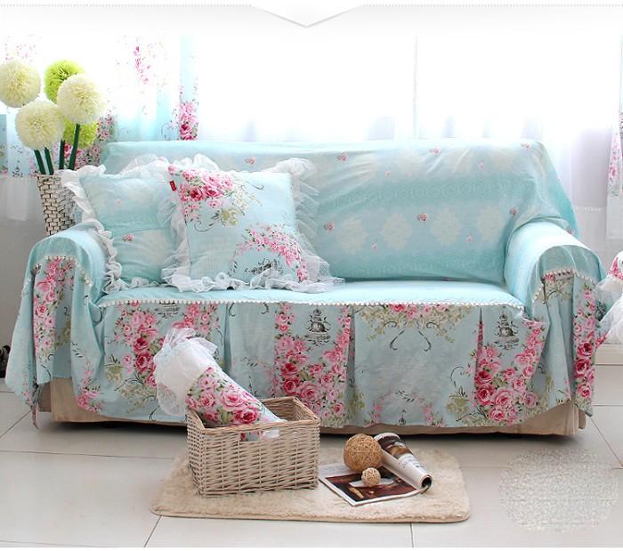 Sofa Bed Cover Bedcover Bunga Biru