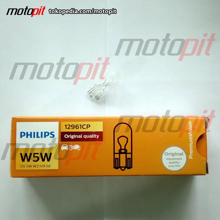 Foto Produk Philips Premium Vision W5W - Lampu Senja Standar Bohlam T10 dari Motopit
